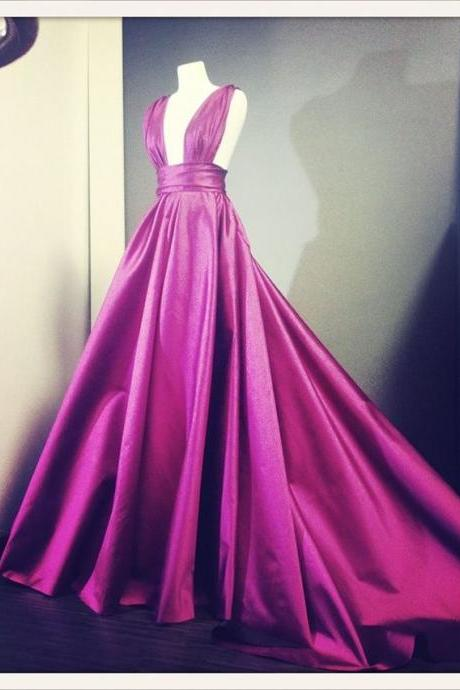 Sexy Long Fuchsia Deep V Neck Prom Dress Evening Gowns Formal Dresses for Women