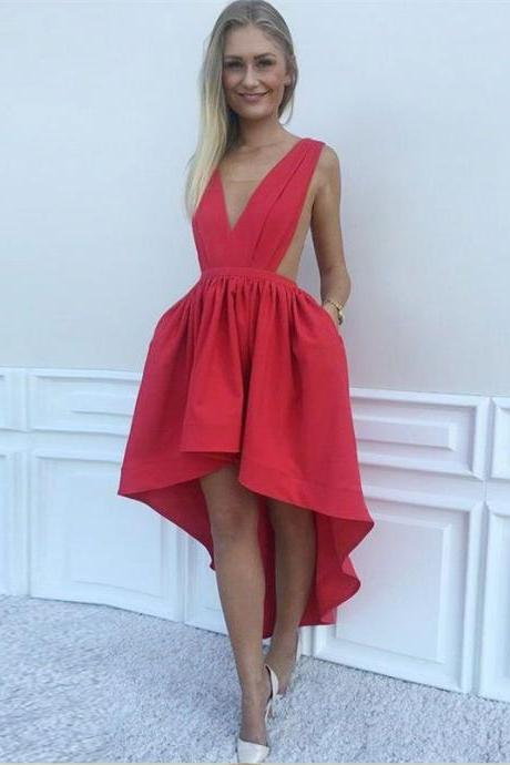 New Arrival Red Deep V Neck Prom Dresses Homecoming Dress Party Gowns