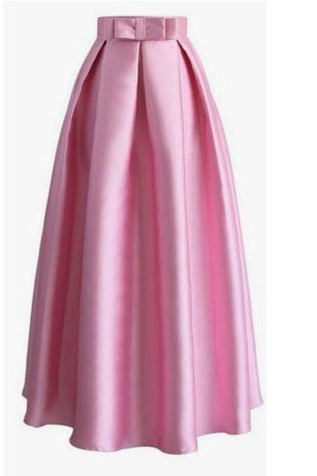 Light Fuchsia Floor Length Women's Skirt with Bowknot