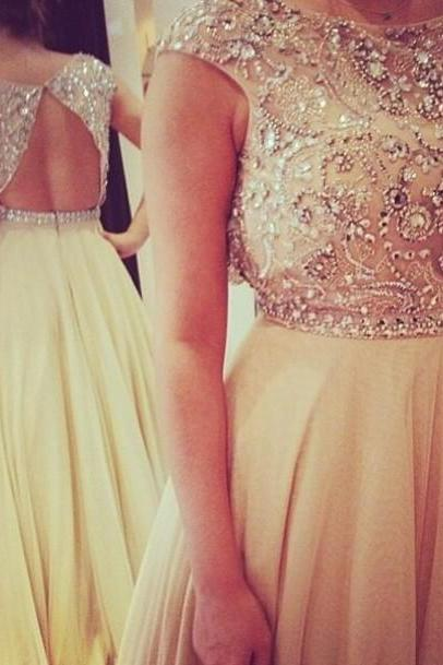 Sparkly Beaded Open Back Long Prom Dresses for Women