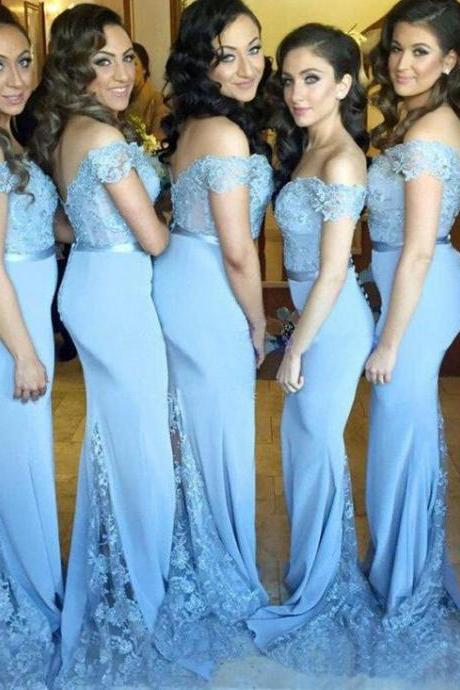 Sky Blue Off the Shoulder Mermaid Wedding Bridesmaid Dresses Prom Dresses with Appliques Lace