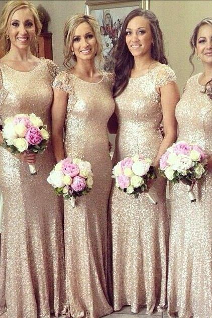 Hot Sell Cap Sleeves Champagne Gold Mermaid Wedding Bridesmaid Dresses with Appliques Lace