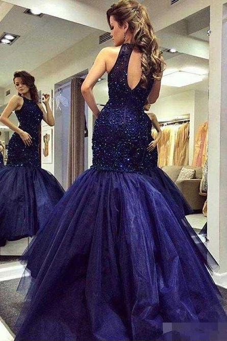 Hot Selling Halter OPen Keyhole Navy Blue Mermaid Prom Dresses with Beaded