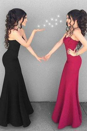 Simlpe Sweetheart Black/Fuchsia Mermaid Prom Dresses Long for Women