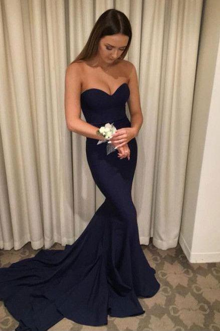 Simple Sweetheart Long Navy Blue Mermaid Prom Dresses
