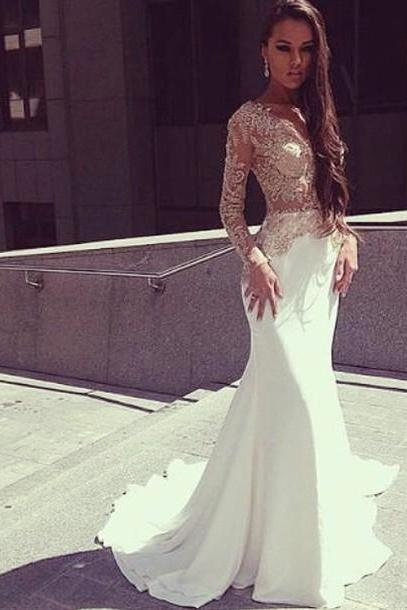 Charming Mermaid White Prom Dresses , Long Sleeves with appliques ,Sheer Prom Gowns
