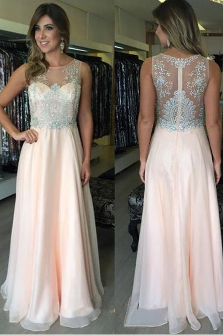 High Quality Light Pink Long Prom Dresses for Women with Beading