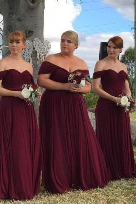 Off the Shoulder Plus Size Long Burgundy Bridesmaid Dresses Wedding Party Gowns