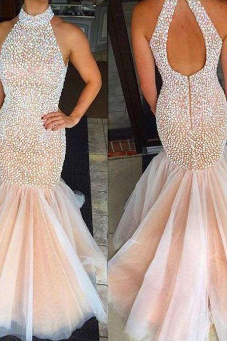 Elegant Mermaid Open Back High Neck Prom Dresses with Colorful Pearls