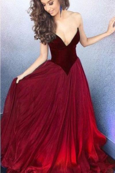 Sweetheart Organza Long Burgundy Prom Dresses