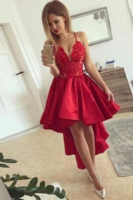 Sexy Spaghetti Straps Hi Low Prom Dresses Homecoming Dresses with Lace