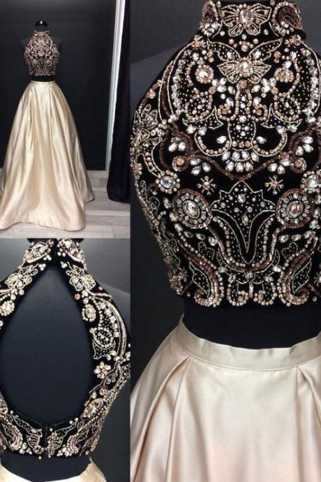 Sparkly Two Piece/2 Piece Long Prom Dresses with Rhinestone Beaded