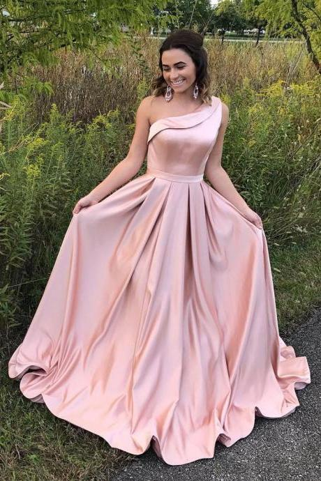 Elegant One Shoulder Pink Long Prom Dresses Evening Dresses