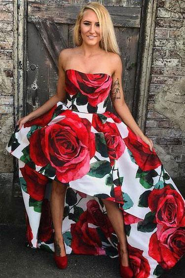 Elegant Floral Print Rose Hi Low Prom Dresses Homecoming Dresses