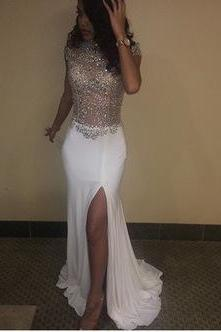 Sexy Long White Prom Dresses with Split Side Beaded Prom Gowns