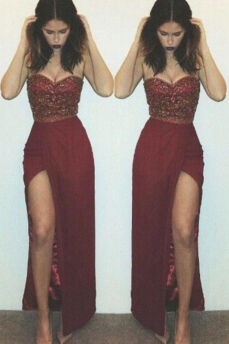 Elegant Strapless Long Split Side Burgundy Prom Dresses for Women