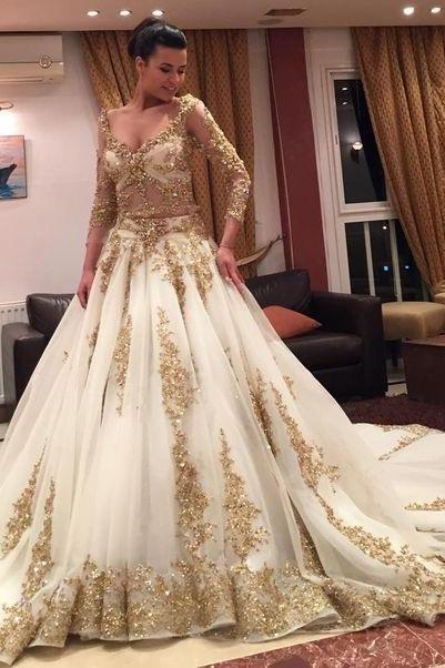 Luxurious Long Sleeves Wedding Dresses Prom Dresses with Gold Appliques