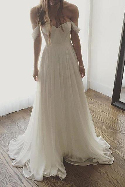 Off the Shoulder Beach Wedding Dresses Bridal Gowns