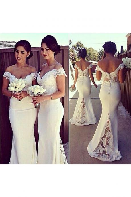 Elegant Ivory Off the Shoulder Mermaid Bridesmaid Dresses with Lace Appliques