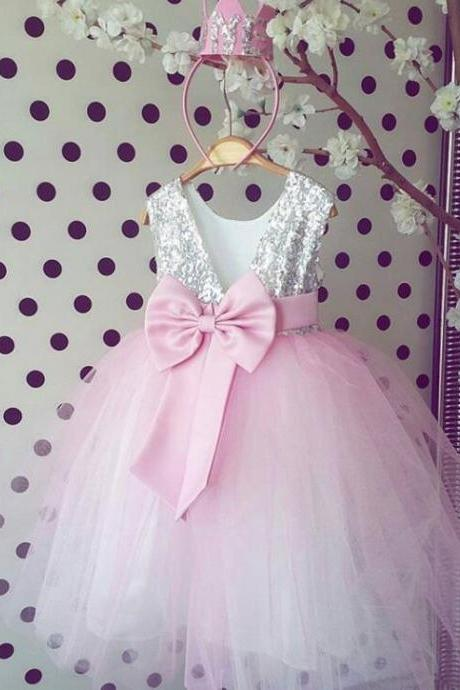 Silver Seqined Pink Tulle Flower Girl Dresses