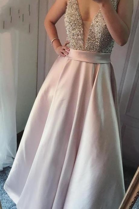 Elegant Pear Pink Satin Deep V Neck Long Prom Dresses with Beaded
