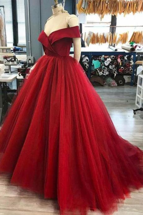 High Quality Off the Shoulder Tulle Dark Red Long Prom Dresses for Women