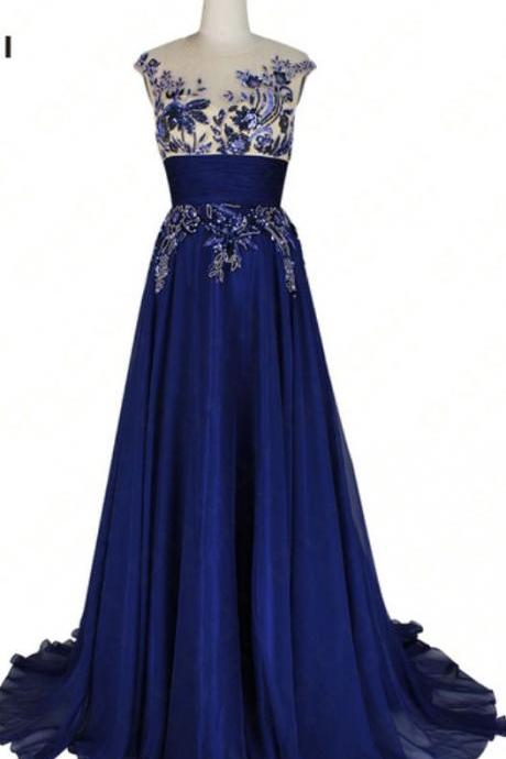 Unique Royal Blue Long Sheer Nevk Prom Dresses with Appliques