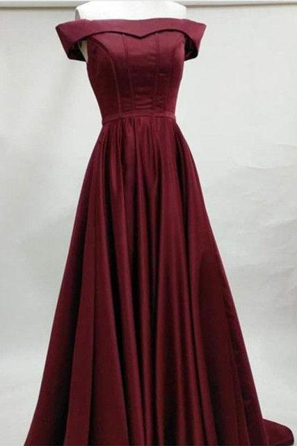 Elegant Off the Shoulder Burgundy Long Prom Dresses Evening Dresses