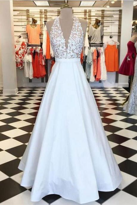 Sexy White Halter V Neck Long Prom Dresses Evening Dresses with Appliques Lace