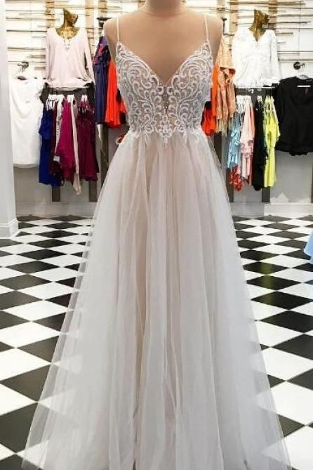 Sexy Spaghetti Straps Chiffon White Prom Dresses Evening Dresses for Women