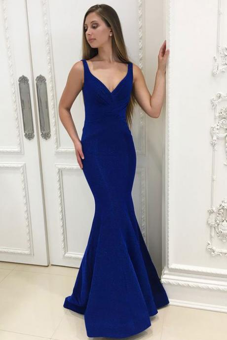 Elegant Royal Blue Mermaid Criss Cross Prom Dresses Evening Dresses for Women