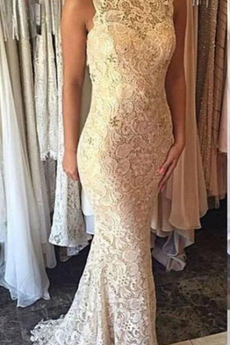 New Arrival High Neck Lace Mermaid Prom Dresses Evening Dresses for Women