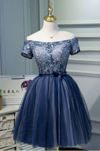 High Quality Short Mini Tulle Navy Blue Homecoming Dresses Prom Dresses with Short Sleeves