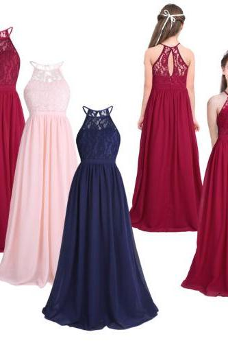 Simple Chiffon Sleeveless Floor Length Flower Girl Dresses for Wedding Party Pageant Dresses for Kids