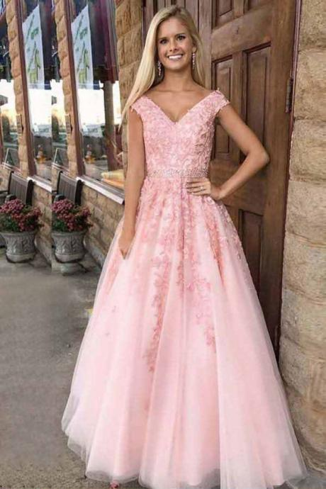 Hot Selling V Neck Floor Length Tulle Prom Dresses with Appliques Waist with Beaded