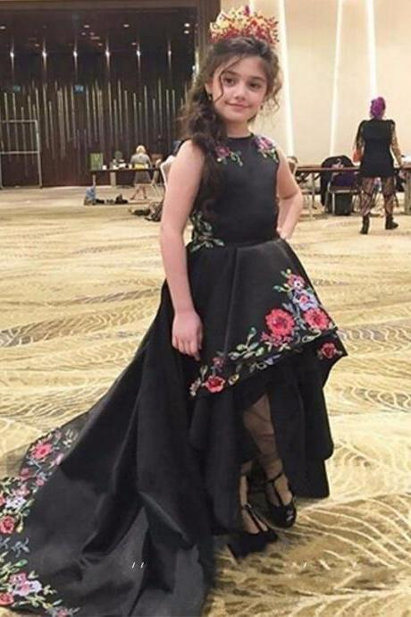 Sweet Black Hi Low Pageant Dresses Flower Girl Dresses with Embroidery for Kid