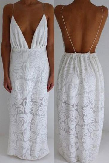 New Arrival White Deep V Beck Cut Low Lace White Prom Dress for Women