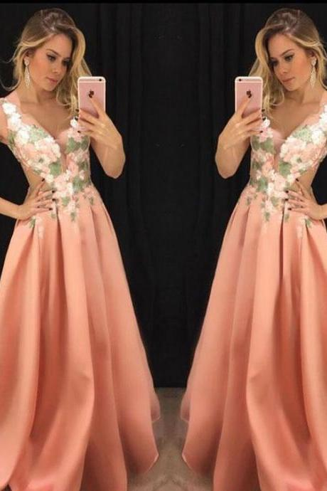 Elegant V Neck Coral Long Prom Dresses Evening Dresses with Appliques Flowers