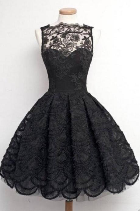 Hot Selling Black Vintage Tea Length Prom Dresses Homecoming Dresses for Women