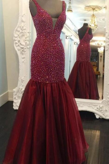 Speical Straps Mermaid Wine Prom Dresses Evening Dresses with Pearls