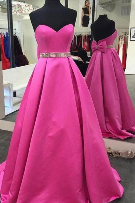 New Arrival Strapless Fuchsia Long Prom Dresses with Bowknot