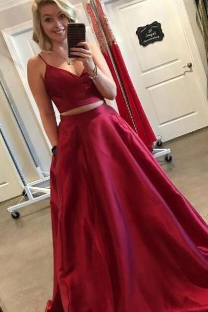 Elegant Two Piece/2 Piece Bugurgundy Red Spaghetti Straps Prom Dresses with Pockets
