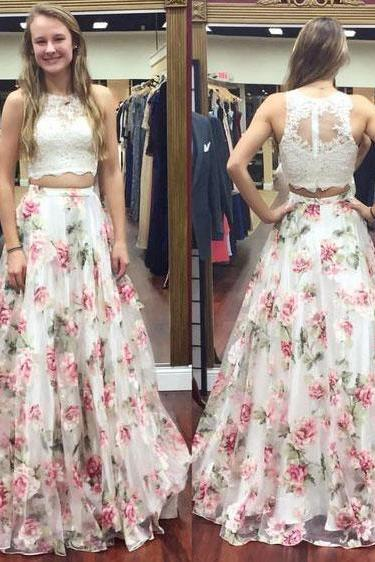 Sexy Two Piece floral Print Lace Prom Dresses Evening Dress for Women
