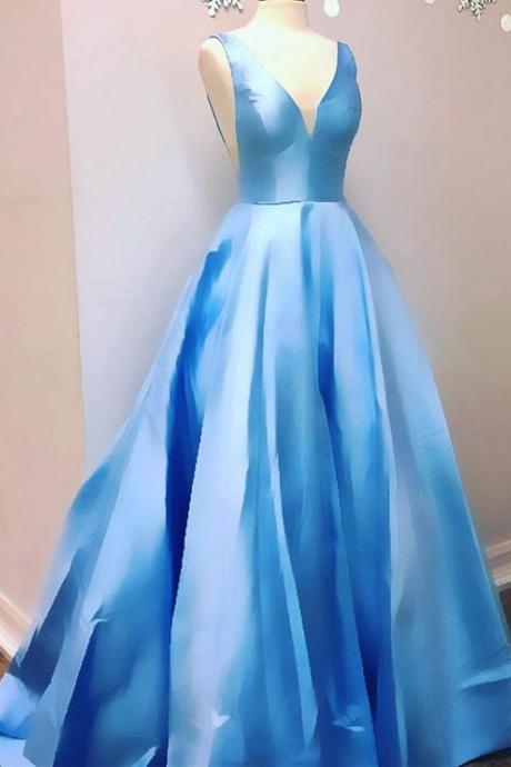 Elegant Blue V Neck Sleeveless Long Prom Dress Evening Gowns for Women