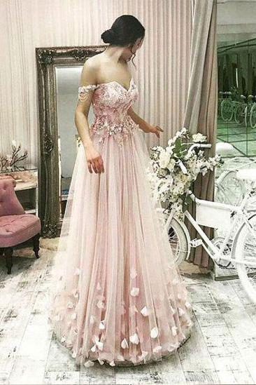 New Arrival Pink Off the Shoulder Long Tulle Prom Dresses Evening Dress with Handmade Flowers