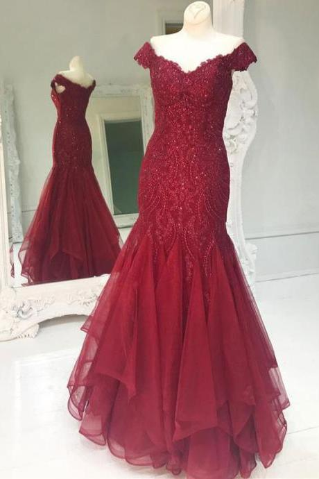 High Quality Mermaid Burgundy Prom Dresses with Appliques for Women