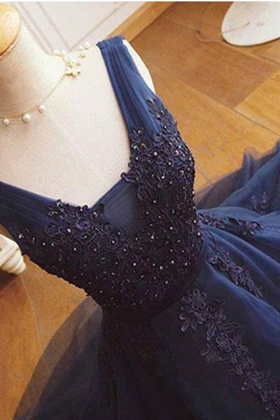 Elegant Short V Neck V Back Dark Navy Blue Prom Dresses Homecoming Gowns