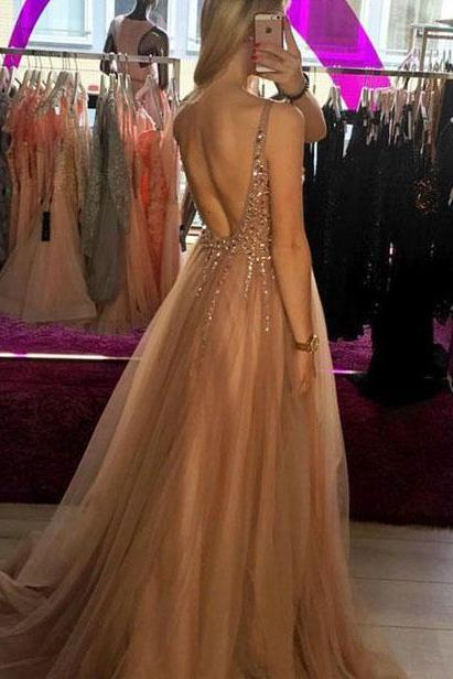 Charming V Neck Long Tulle Prom Dresses for women with Sequined