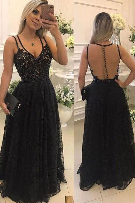 Elegant V Neck Lace Long Prom Dresses Evening Dresses