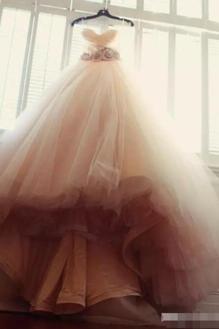 Blush Pink Ball Gown tulle Sweetheart Wedding Dresses Bridal Dresses